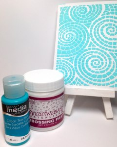 Mosaic Swirl Stencil,  Cobalt Teal Media Acrylic,  Regular Dreamweaver Paste
