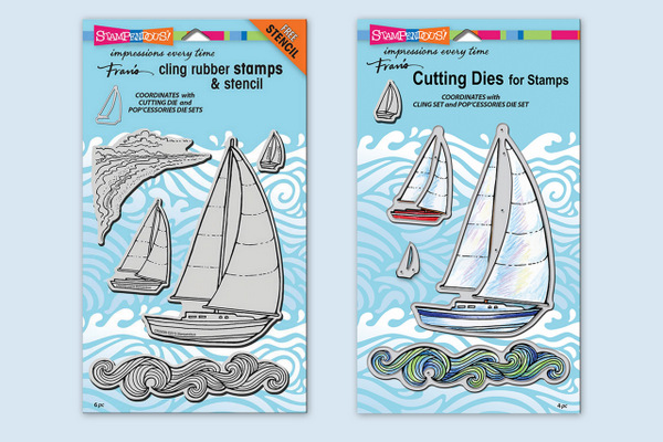 CRS5089 Sailboat Cling Rubber Stamp Set and DCS5089 Sailboat Die Set