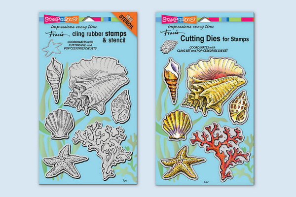 CRS5090 Seashells Cling Rubber Stamp Set and DCS5090 Seashells Die Set