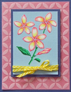 Plumeria and  Cathedral Windows card by Laura Drahozal
