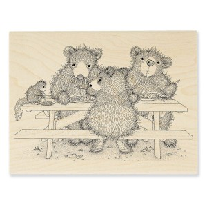 HGR04 Picnic Bears Rubber Stamp