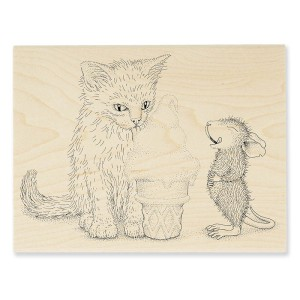 HMR59 Ice Cream Kitty Rubber Stamp
