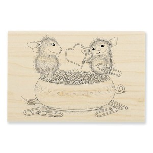 HMP57 House-Mouse® Paper Clip Heart Rubber Stamp