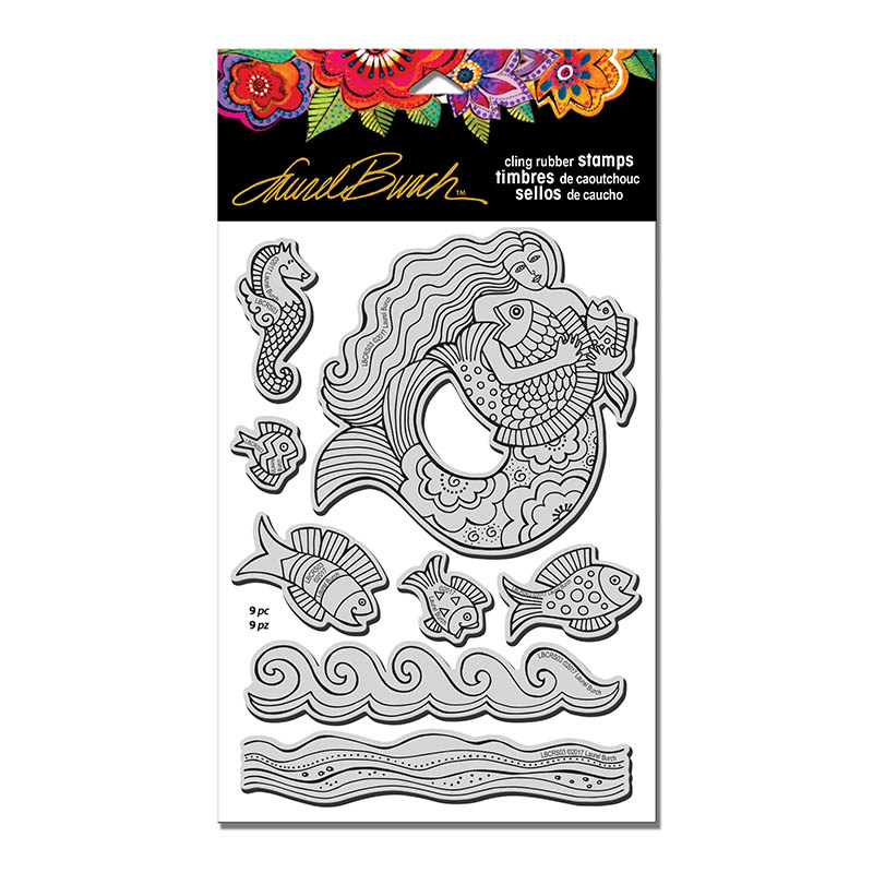 Stampendous Laurel Burch Mermaid Fish Cling Rubber Set