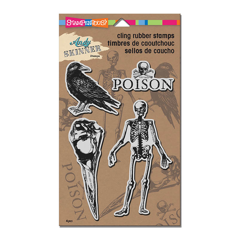 Jumbo Birds /& Bones ASCRS10 Stampendous Andy Skinner Cling Stamps