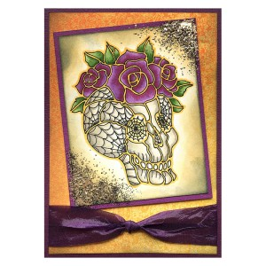 FMS4075 Skull Roses by Louise Healy