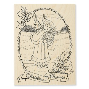 R298 Angel Blessing Wood Stamp