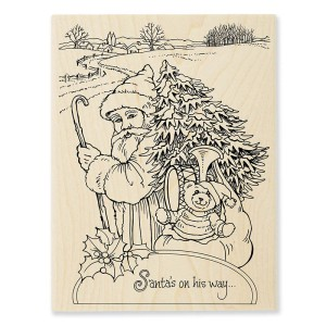 R307 Santa On His Way Wood Stamp
