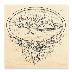 W189 Winter Home Wood Stamp