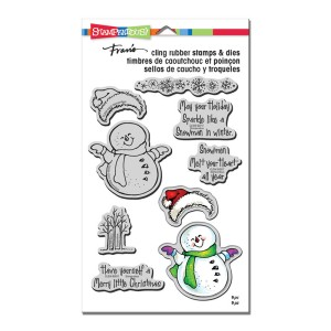 Smiling Snowman Cling Rubber plus Cutting Dies