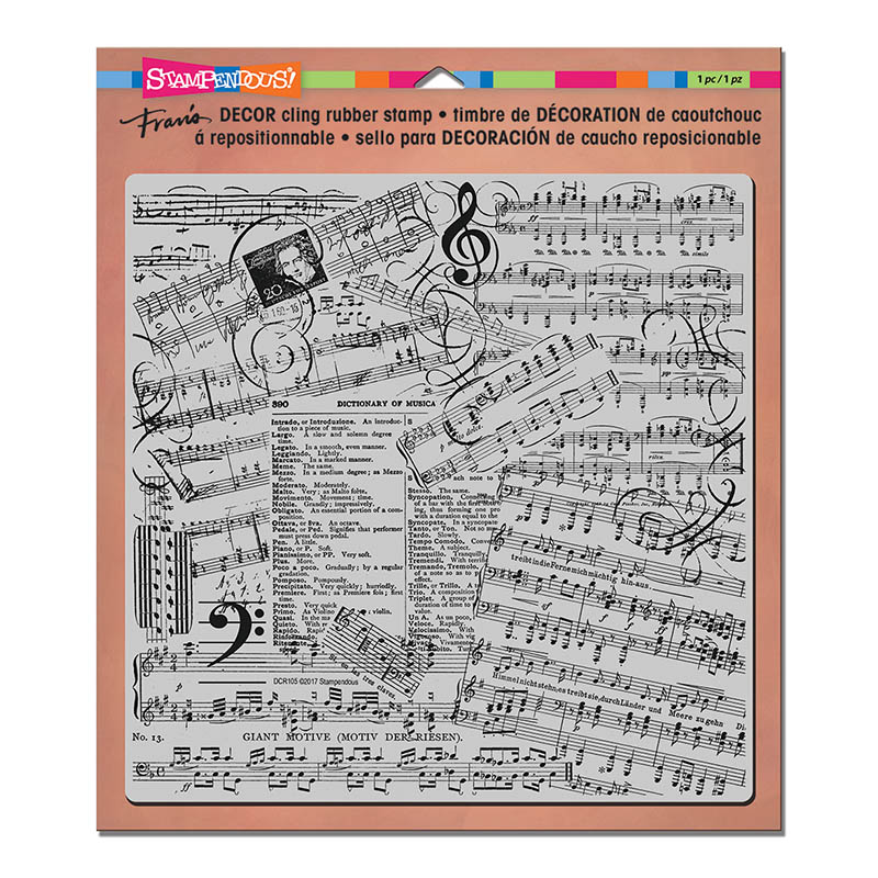DCR105 Music Decor Cling Rubber Stamp