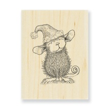 HME01 Santa Mouse Wood Mounted Rubber Stamp