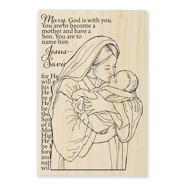 P308 Mother Mary Wood Mounted Stamp