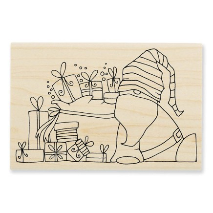 PLP12 Pink Your Life Santa Resting Wood Mounted Stamp.