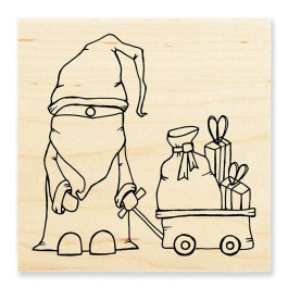 PLW01 Papa Christmas Wood Mounted Stamp