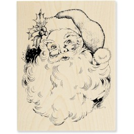 R156 Jolly Santa Wood Mounted Stamp