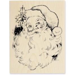 R156 Jolly Santa Wood Mounted Stamp