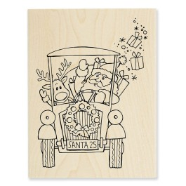 R274 Santa's Pick Up Wood Mounted Stamp