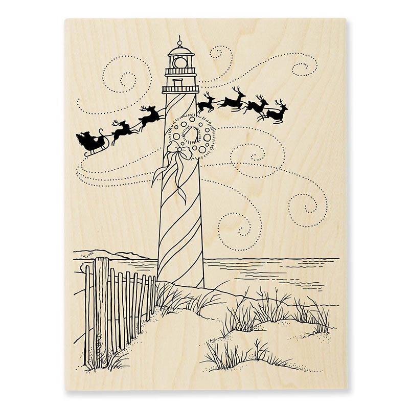 R306 Lighthouse Christmas Wood Mounted Stamp