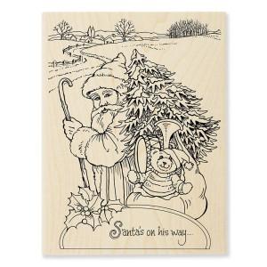 R307 Santa On His Way Wood Mounted Stamp