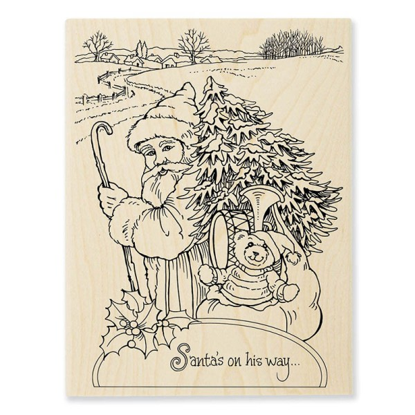 R307 Santa On His Way Wood Mounted Stamp