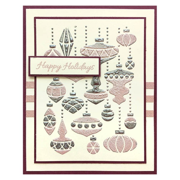 Embossed Ornament Mix Card by Louise Healy