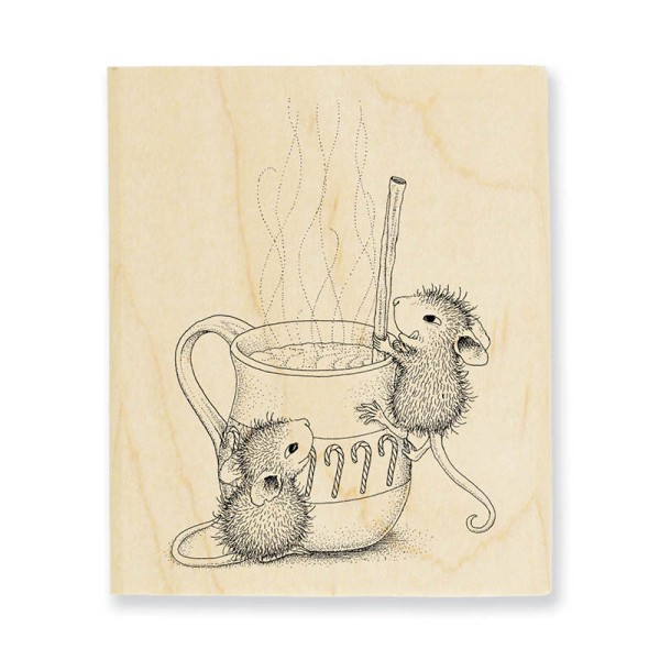HMV35 Warm Drink Wood Mounted Rubber Stamp
