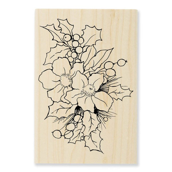 P307 Christmas Roses Wood Mounted Stamp