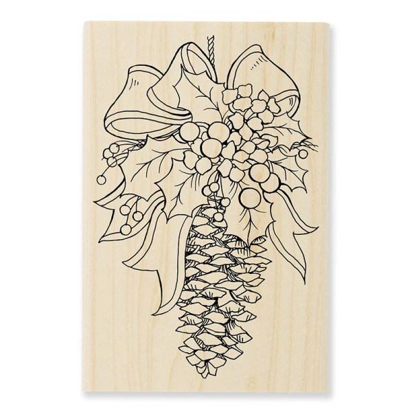 P310 Pinecone Decoration Wood Mounted Stamp