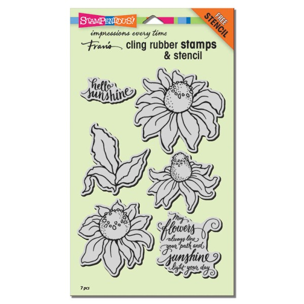 CRS5085 Coneflower Cling Rubber Stamp Set