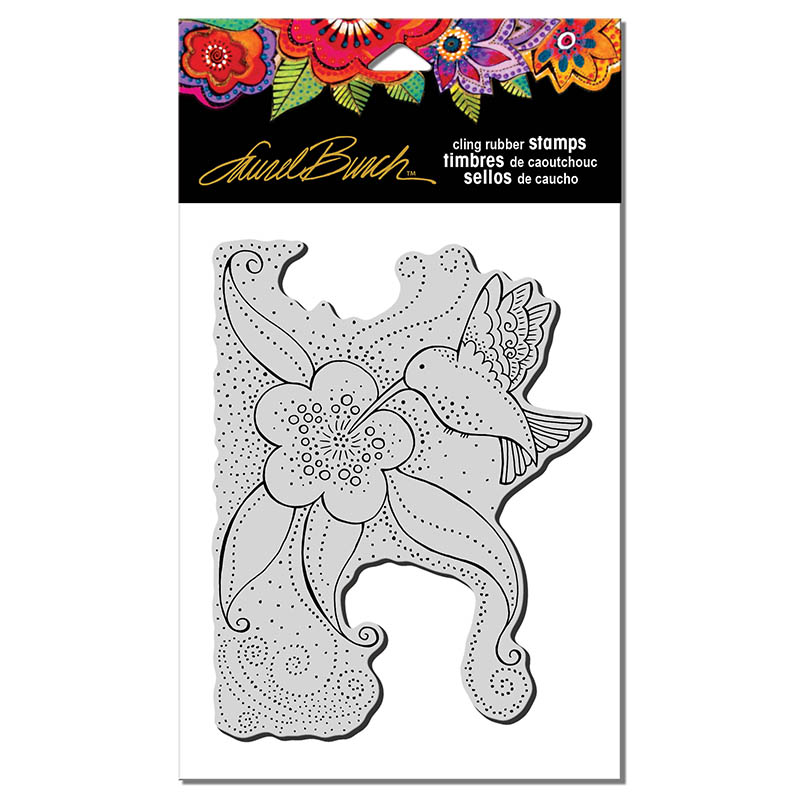 LBCR003 Laurel Burch Cling Hummingbird Blossom