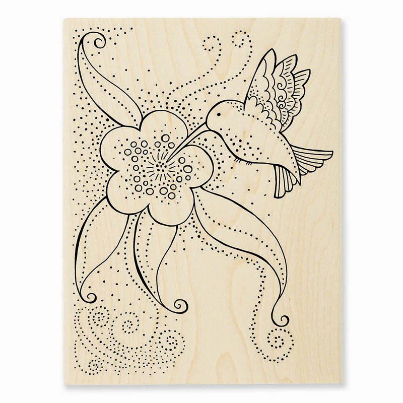 LBR003 Laurel Burch Hummingbird Blossom Rubber Stamp