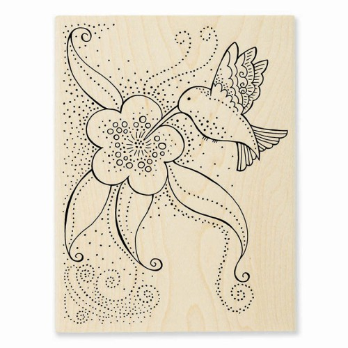 LBR003 Laurel Burch Hummingbird Blossom Rubber Stamp