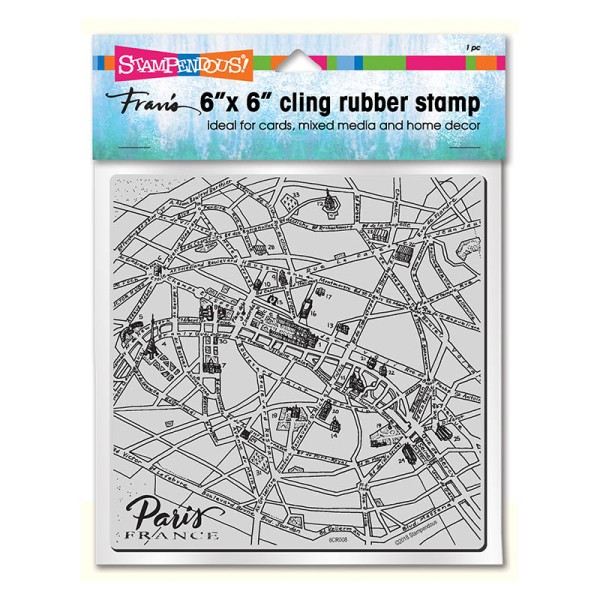 Paris Map Cling Rubber Stamp