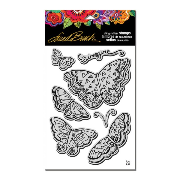LBCRS08 Imagine Butterflies Cling Rubber Stamp Set with Template