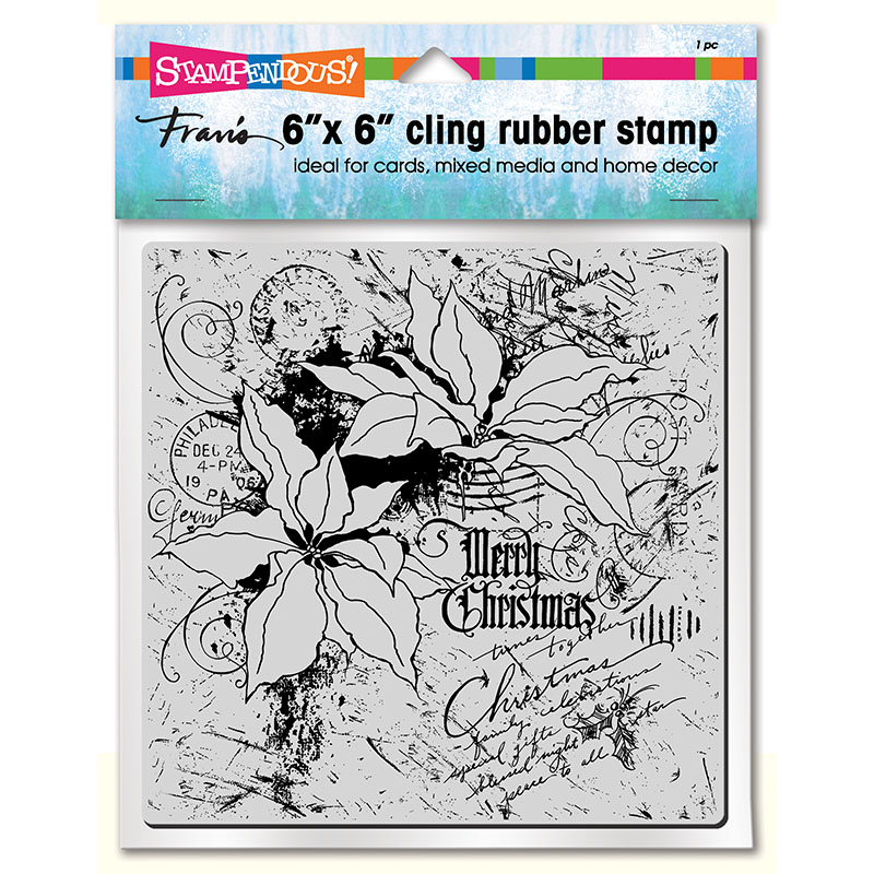 6CR010 Poinsettia Collage Cling Rubber Stamp