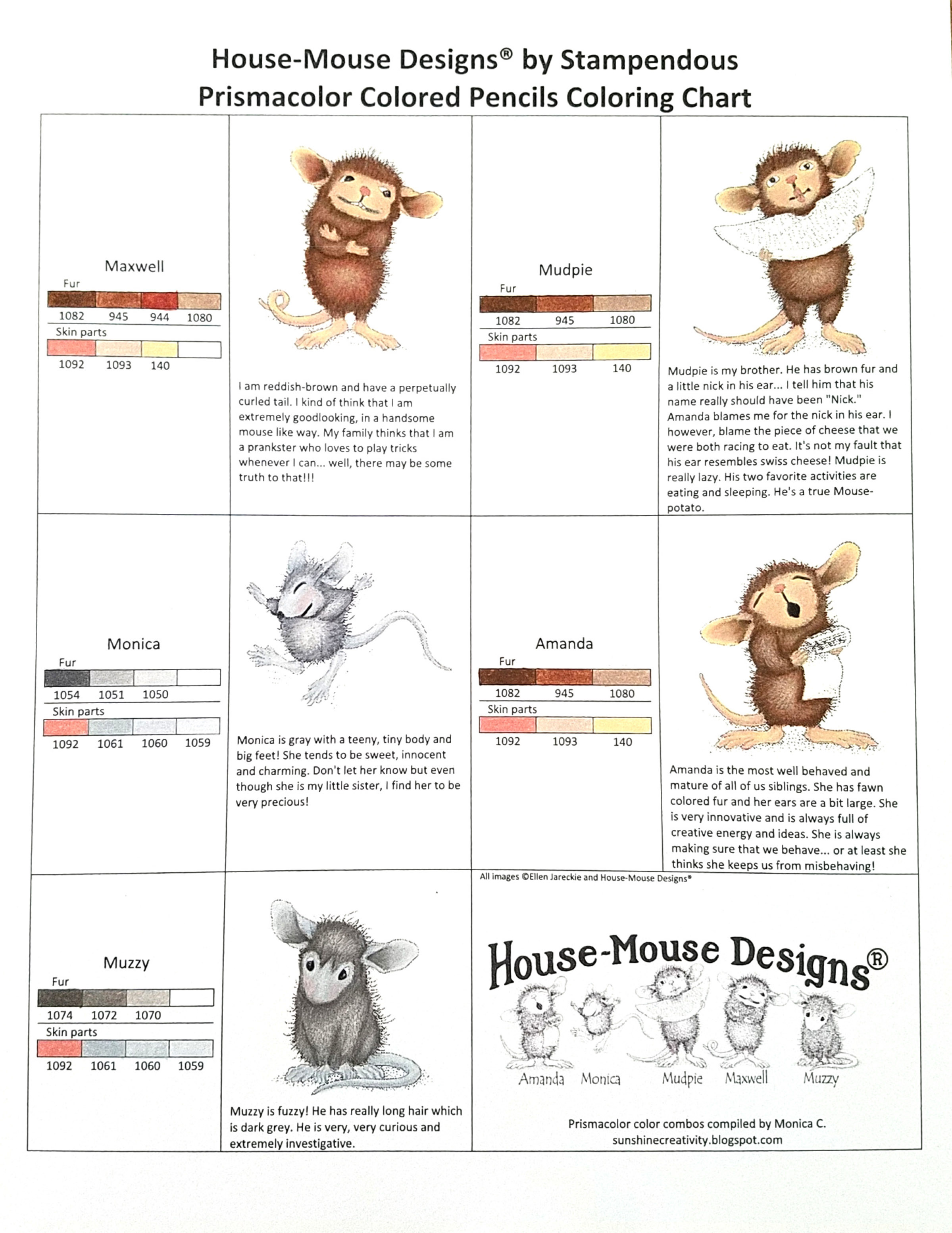 House-Mouse Designs Coloring Chart Prismacolor Color Pencils colored by Monica C