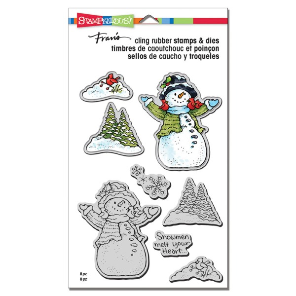 CLD12 Snowman Cardinals Cling Stamps and Cutting Dies