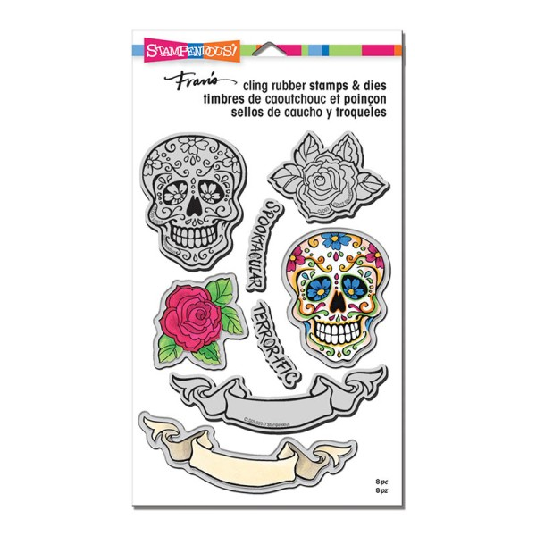 Sugar Skull Cling Stamps and Cutting Dies