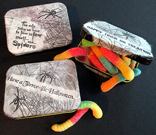 Spider Fear Halloween Tins by Judi Kauffman