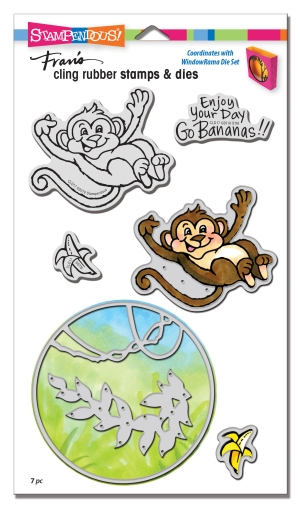 CLD17 Monkey Cling Rubber Stamps and Cutting Dies
