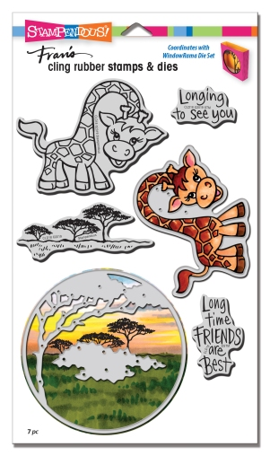 CLD18 Giraffe Cling Rubber Stamp Set and Cutting Dies