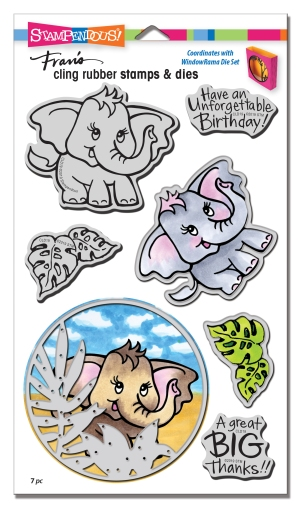 CLD19 Elephant Cling Rubber Stamps and Cutting Dies