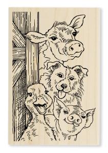 Funny Farm Wood Stamp