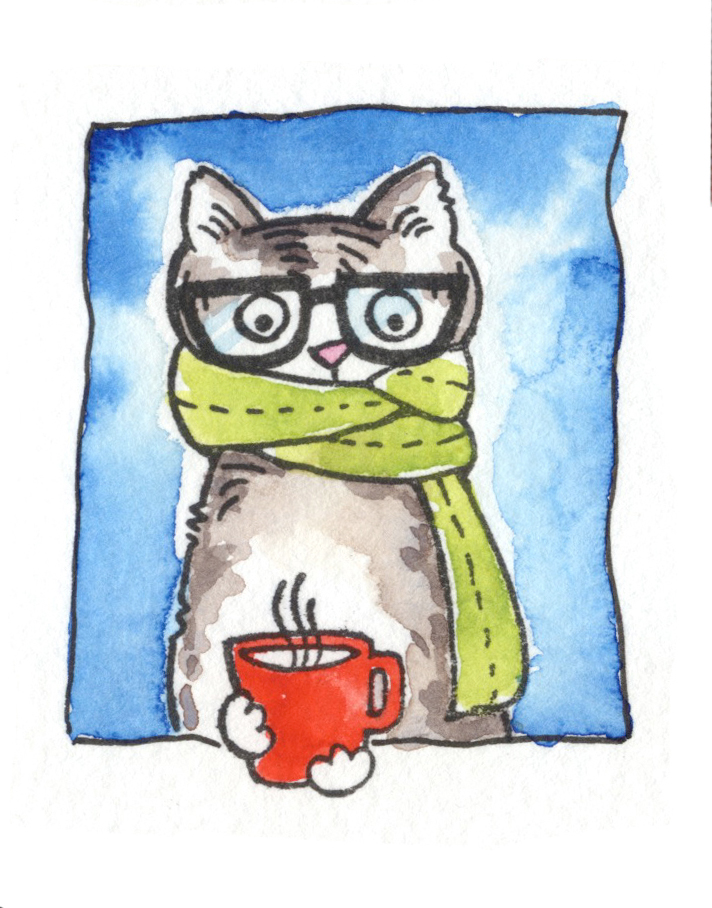 Thankful Kitty with coffee mug